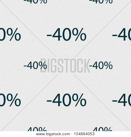 40 Percent Discount Sign Icon. Sale Symbol. Special Offer Label. Seamless Pattern With Geometric Tex