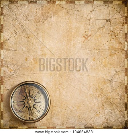 vintage compass and nautical map