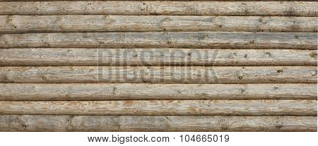 Wooden Log Cabin Old Wall Natural Colored Horizontal Background Texture