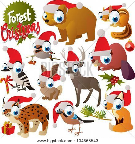 Vector cute cartoon christmas animals set: santa bear, santa woodpecker, santa chipmunk, santa waxwing, santa deer, santa beaver, santa hare, santa lynx, santa fox, santa jay