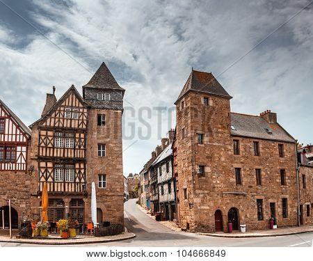 street old Breton town Treguier, France