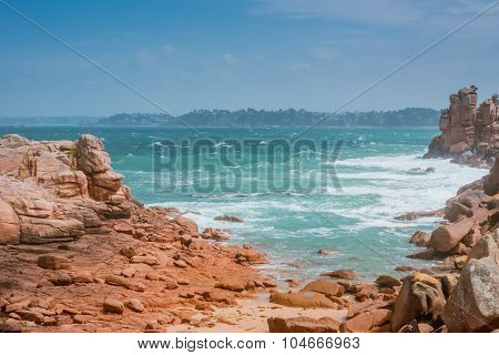 waves crashing on rocks, Bretagne, France