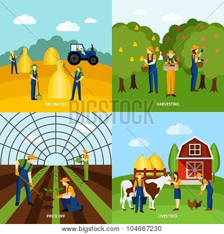 Farming 4 flat icons square poster