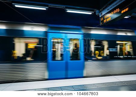 Stockholm Metro Train Station in Blue colors, Sweden
