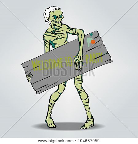 Vector Halloween template with Zombie holding a board for text.