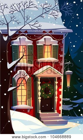 Decorated house facade. Christmas greeting card \ background \ poster. Vector illustration.