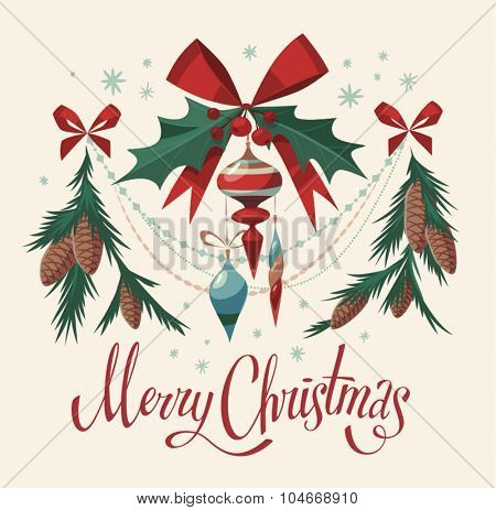 Christmas decorations isolated elements. Vector image.
