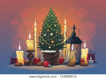 Still life with candles and Christmas Tree. Christmas greeting card \ background \ poster. Vector illustration.
