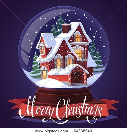 Snow glass ball. Christmas greeting card \ background \ poster. Vector illustration.