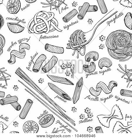 Vector Hand Drawn Pasta Pattern. Vintage Line Art Illustration