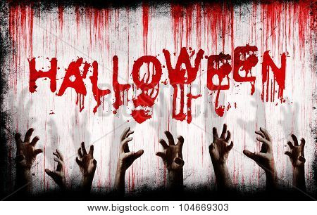 Halloween Painted On Bloody Wall With Scary Hands