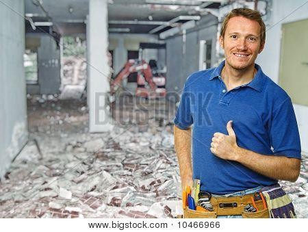 Smiling Handyman At Work