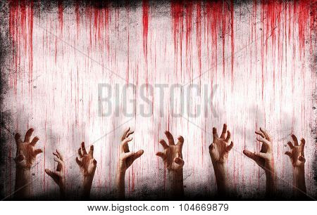 Bloody Wall With Scary Hands