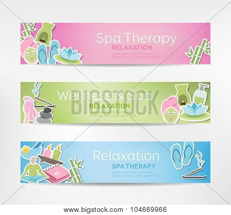 Wellness Banners - can be used for relaxation; meditation; spa treatment or stress relief topics.