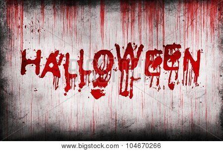Halloween Painted On Bloody Wall