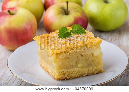 Homemade Apple Pie On White Plate