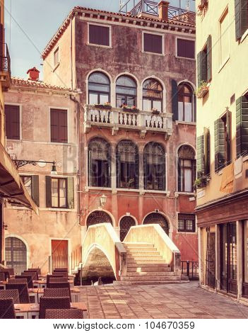 A  little  street at  a sunny day,  Venice, Italy. Toned image.