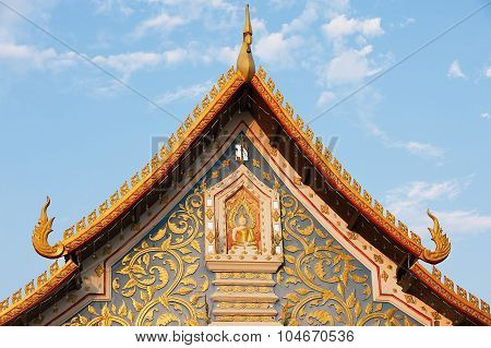Exterior detail of the Wat Sri Khun Mueang temple in Chiang Khan, Thailand.