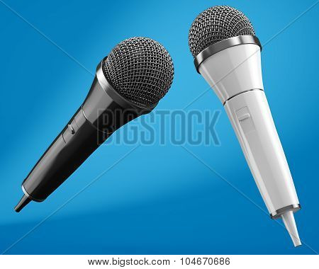 Black And White Microphones On Blue Background