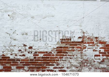 Old Vinyage Red Brick Wall With Sprinkled White Plaster Texture