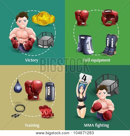 Mma fighting 3d icons square