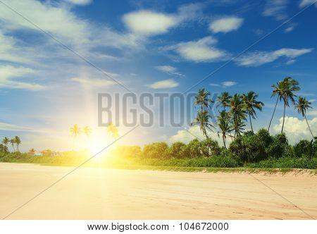 beautiful sunrise over the sea beach