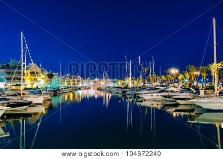Night Scenery View Of Embankment, Seacoast, Beach In Benalmadena