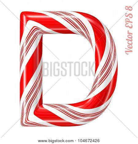 Mint hard candy cane vector alphabet collection striped in Christmas colours. Letter D. Eps 8 using mesh.