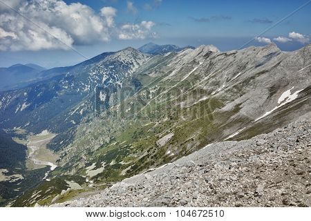 Panorama from Vihren Peak to Banski Suhodol Peak and Koncheto, Pirin Mountain