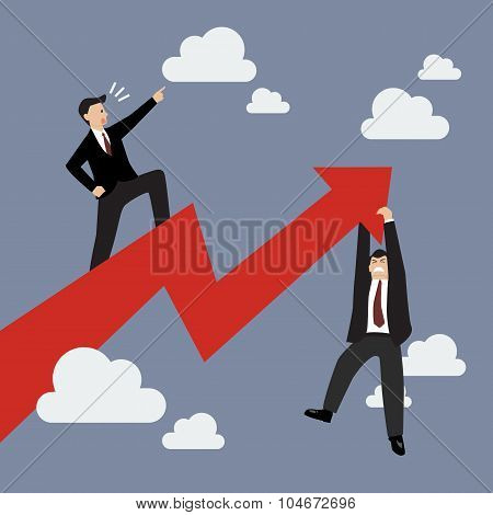 Businessman Standing On A Growing Graph With Businessman Hold On Graph