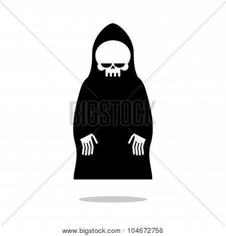 Death Cloak Hovers Above Ground. Grim Reaper In Black Hood. Cute Death Hands Down. Illustration For