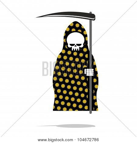 Death In Black Pajamas With Yellow Flowers. Grim Reaper In Hood And Oblique. Halloween Character Dea