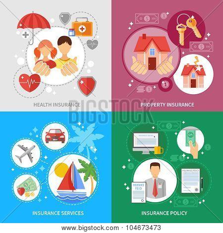 Insurance Concept Icons Set