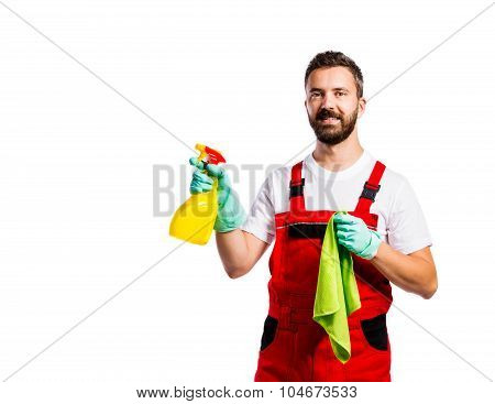 Young handsome cleaner