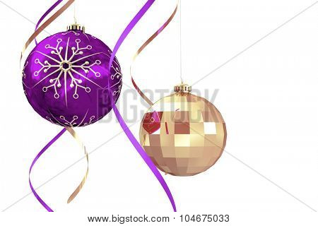 Hanging christmas bauble decorations on white background