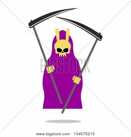 Bunny Death Purple Cloak And Scythe. Grim Reaper  With  Rabbit Skull.