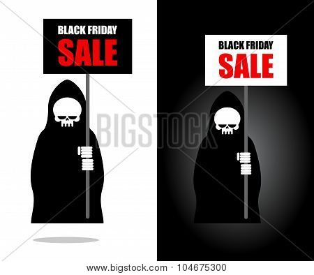 Death Holds Banner. Black Friday Sale. Grim Reaper Keeps Sheet.