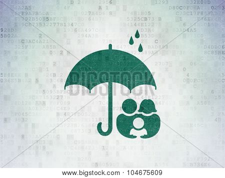 Privacy concept: Family And Umbrella on Digital Paper background