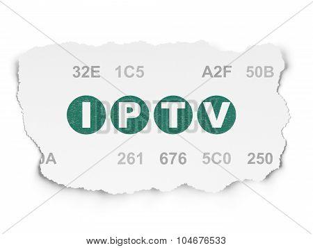 Web design concept: IPTV on Torn Paper background