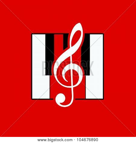 Violin Key Red Vector