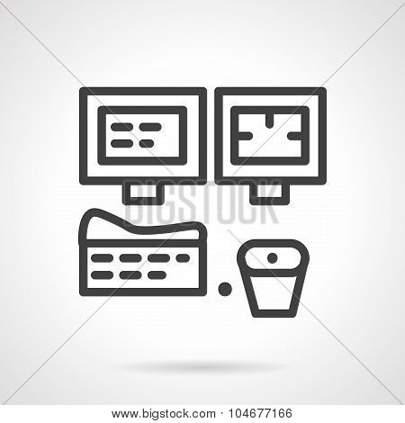 MRI room equipment simple line vector icon