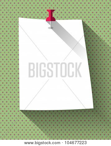 Flat Design White Sticky Note Paper Attached With Red Pin