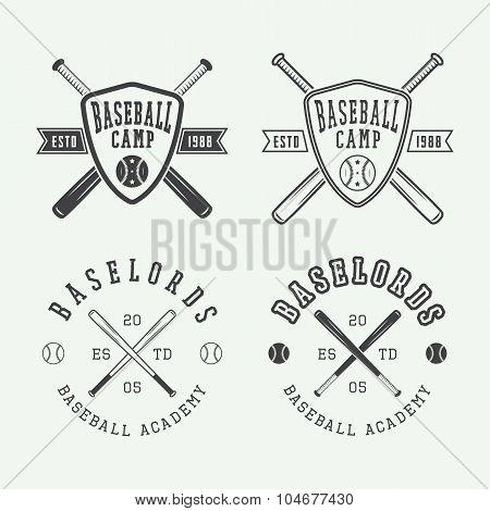 Vintage Baseball Logos, Emblems, Badges And Design Elements.