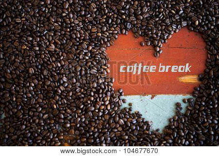 Heart Shape Of Coffee Beans With The Word 'coffee Break'