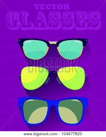 Vector set of colorful modern sun glasses. Young stylish acessory