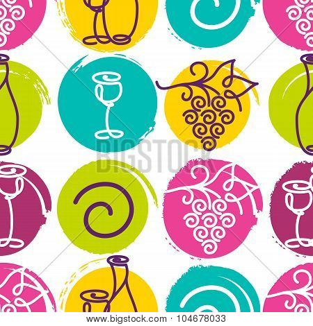 Vector Seamless Pattern With Multicolor Wine Bottle, Glass And Grape Vine In Watercolor Blots. Abstr