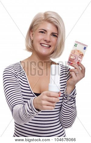 Woman Holding An Eco-friendly Light Bulb