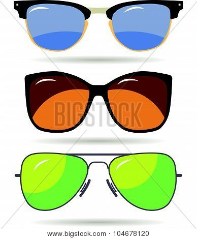Vector set of colorful modern sun glasses. Young stylish acessory.