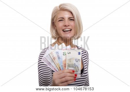 Smiling Woman Holding A Handful Of Euro Notes