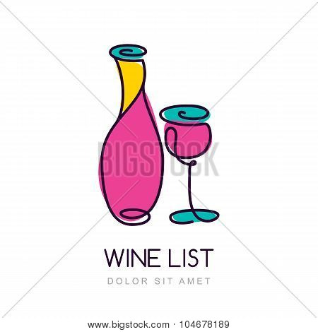Vector Illustration Of Colorful Wine Bottle And Glass. Logo Design Template.